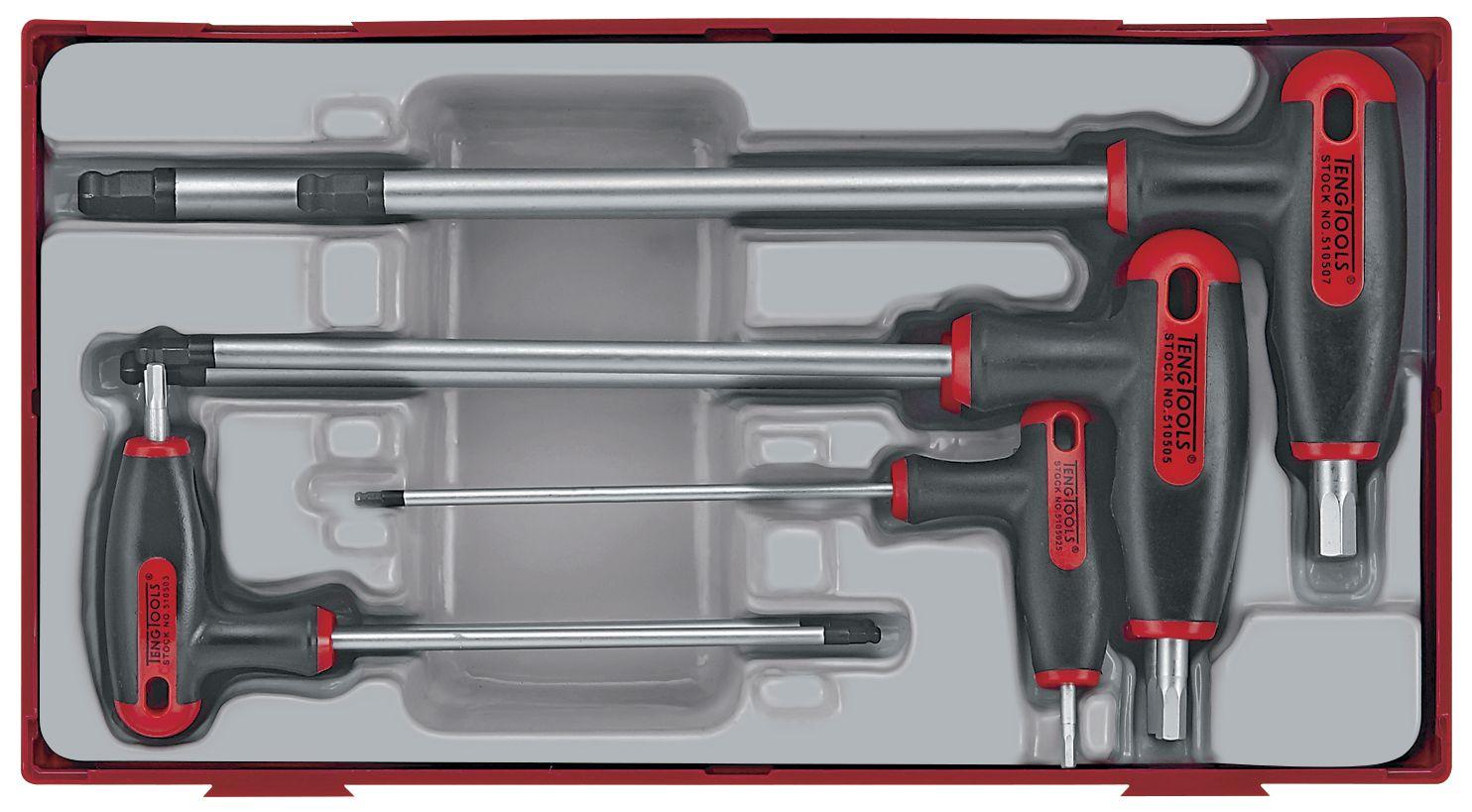 7 Piece EVA T-Handle Hex Key Set TENG TOOLS TEDHEX7 Ball Point Heads